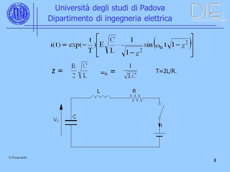19 Università degli studi di Padova Dipartimento di ingegneria elettrica G.Pesavento Sonda di Rogowski v i (t) = M di(t)/dt