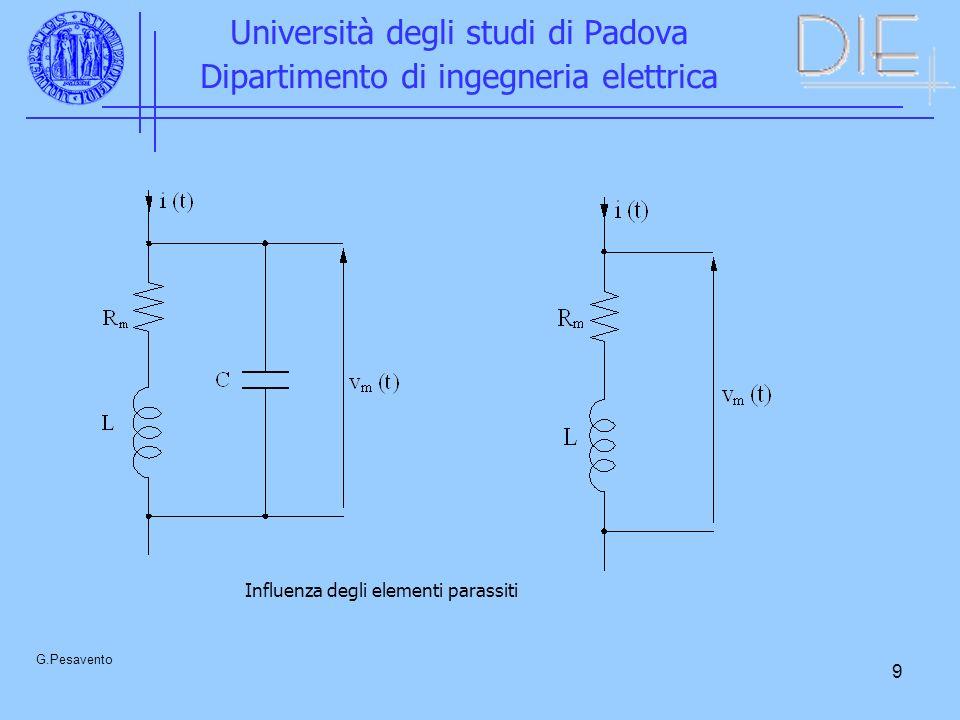 9 Università degli studi di Padova Dipartimento di ingegneria elettrica G.Pesavento Influenza degli elementi parassiti