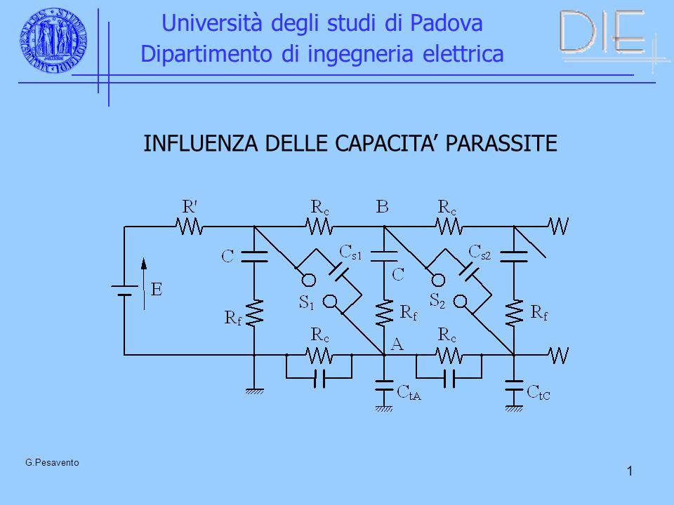 1 Università degli studi di Padova Dipartimento di ingegneria elettrica G.Pesavento INFLUENZA DELLE CAPACITA PARASSITE