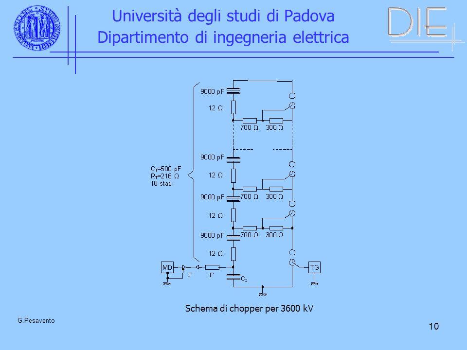 10 Università degli studi di Padova Dipartimento di ingegneria elettrica G.Pesavento Schema di chopper per 3600 kV