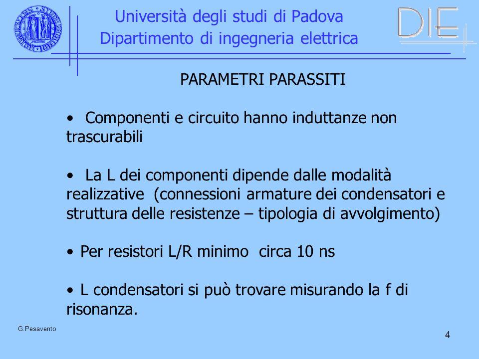 4 Università degli studi di Padova Dipartimento di ingegneria elettrica G.Pesavento PARAMETRI PARASSITI Componenti e circuito hanno induttanze non tra