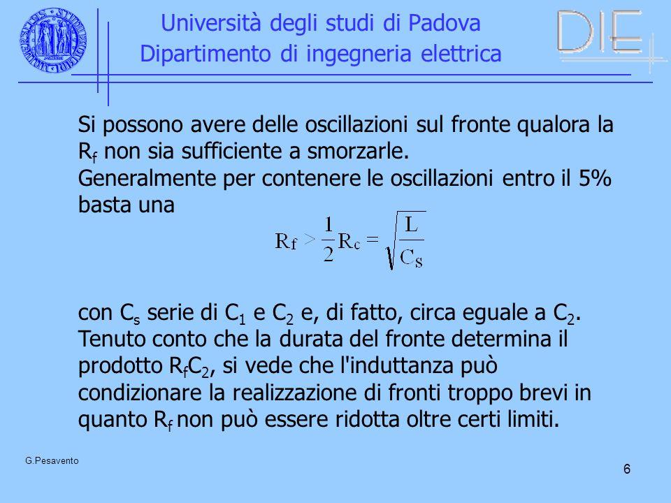 6 Università degli studi di Padova Dipartimento di ingegneria elettrica G.Pesavento Si possono avere delle oscillazioni sul fronte qualora la R f non