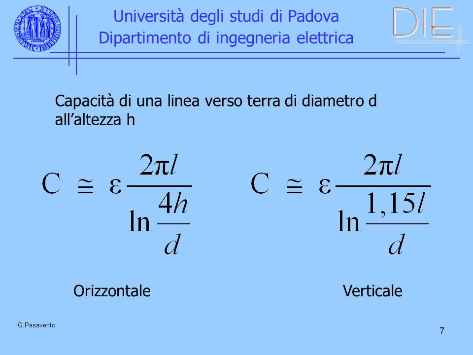 7 Università degli studi di Padova Dipartimento di ingegneria elettrica G.Pesavento Capacità di una linea verso terra di diametro d allaltezza h Orizz