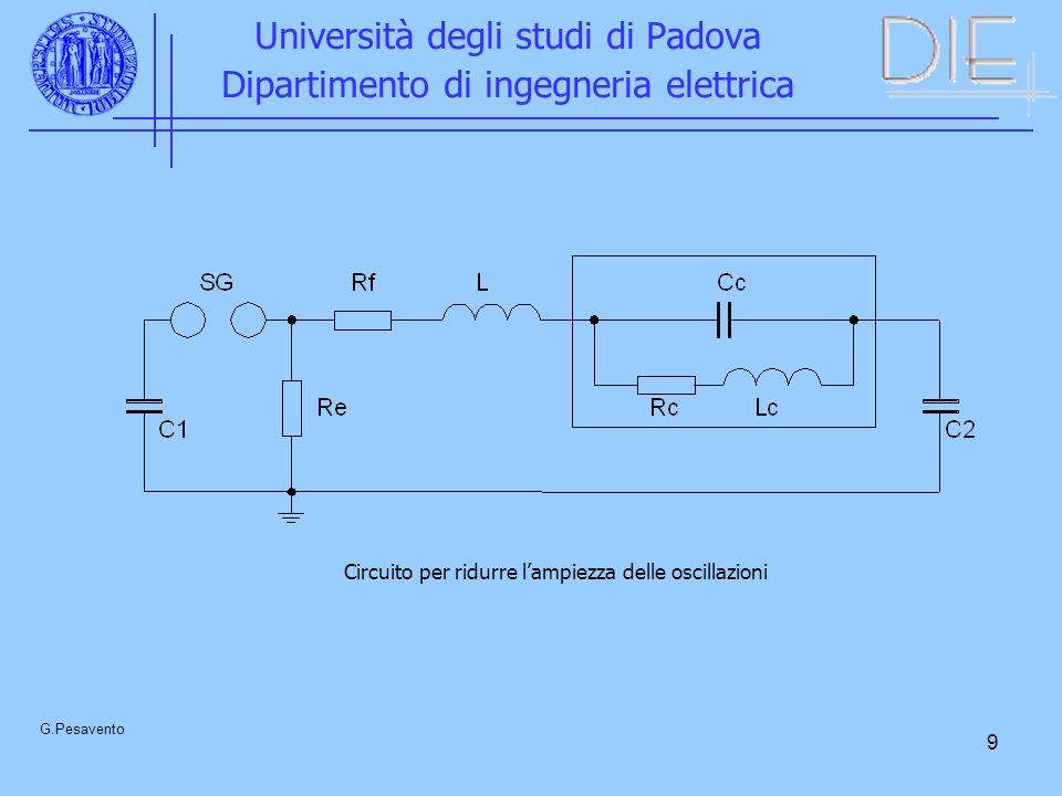 9 Università degli studi di Padova Dipartimento di ingegneria elettrica G.Pesavento Circuito per ridurre lampiezza delle oscillazioni