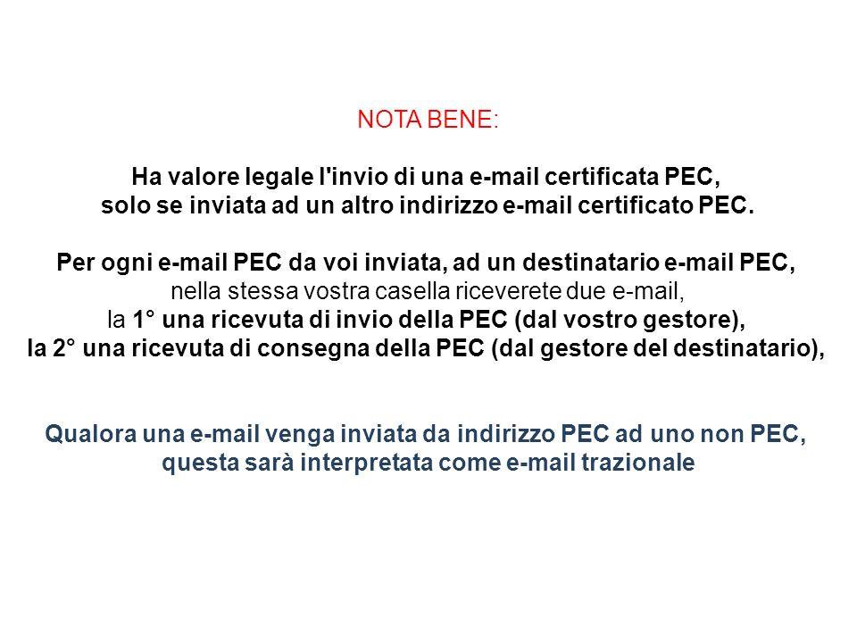 NOTA BENE: Ha valore legale l invio di una e-mail certificata PEC, solo se inviata ad un altro indirizzo e-mail certificato PEC.