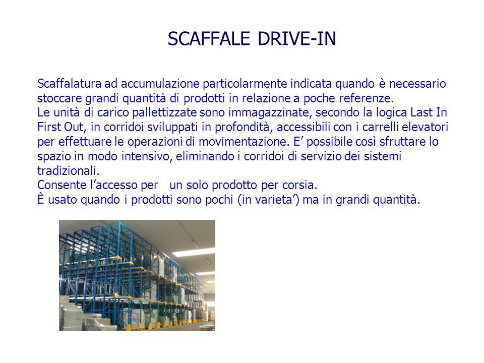 SCAFFALE DRIVE-IN Scaffalatura ad accumulazione particolarmente indicata quando è necessario stoccare grandi quantità di prodotti in relazione a poche
