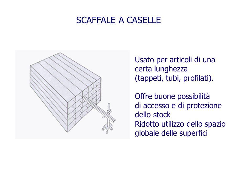 SCAFFALE A CASELLE Usato per articoli di una certa lunghezza (tappeti, tubi, profilati). Offre buone possibilità di accesso e di protezione dello stoc