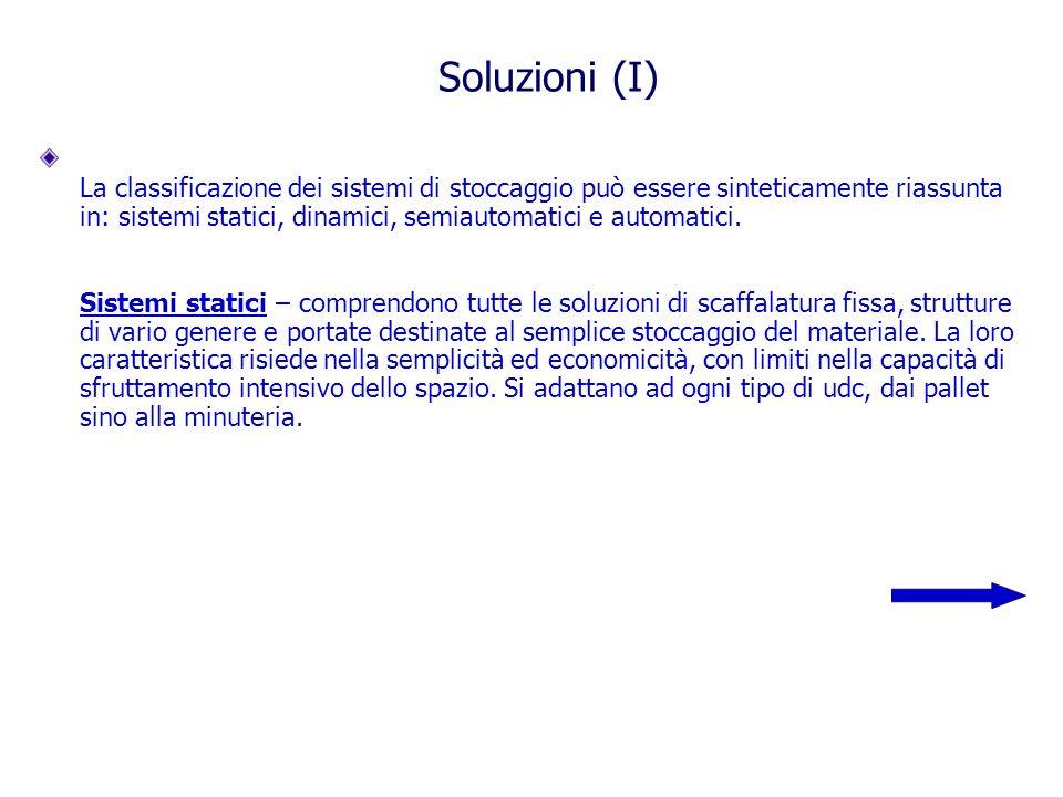 Soluzioni (I) La classificazione dei sistemi di stoccaggio può essere sinteticamente riassunta in: sistemi statici, dinamici, semiautomatici e automatici.