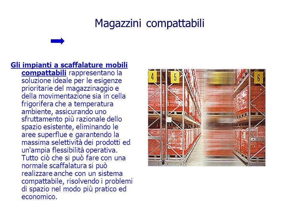 Magazzini compattabili Gli impianti a scaffalature mobili compattabili rappresentano la soluzione ideale per le esigenze prioritarie del magazzinaggio