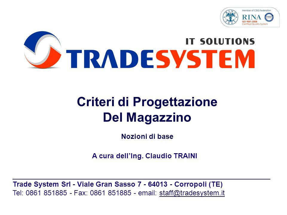Criteri di Progettazione Del Magazzino Nozioni di base A cura dellIng. Claudio TRAINI ________________________________________________________________