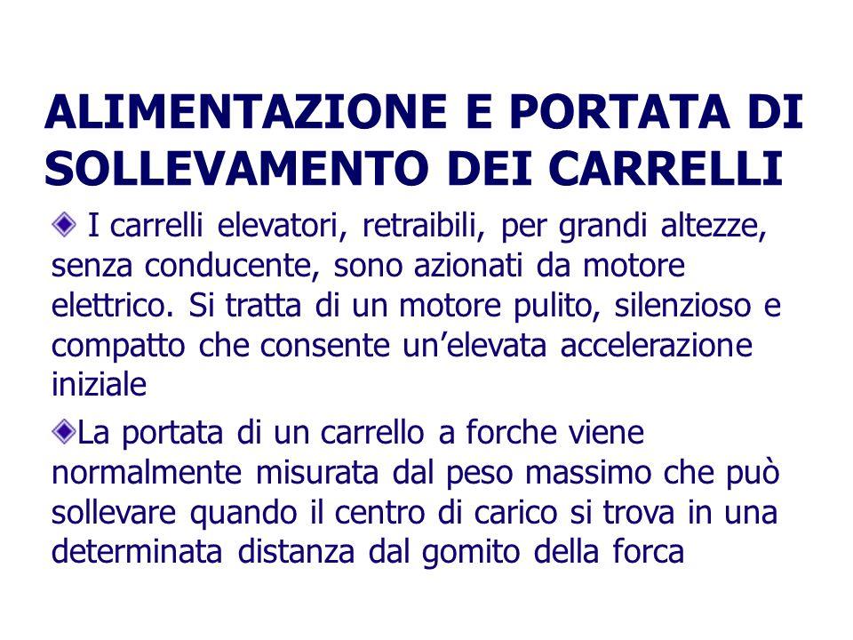 ALIMENTAZIONE E PORTATA DI SOLLEVAMENTO DEI CARRELLI I carrelli elevatori, retraibili, per grandi altezze, senza conducente, sono azionati da motore elettrico.