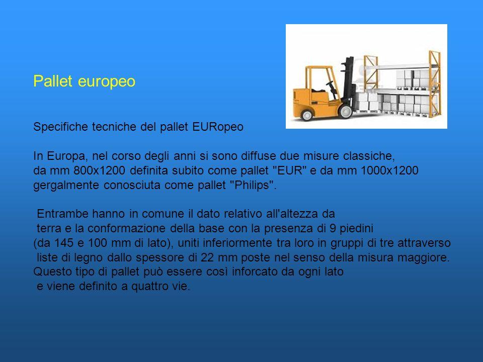 Pallet europeo Specifiche tecniche del pallet EURopeo In Europa, nel corso degli anni si sono diffuse due misure classiche, da mm 800x1200 definita su