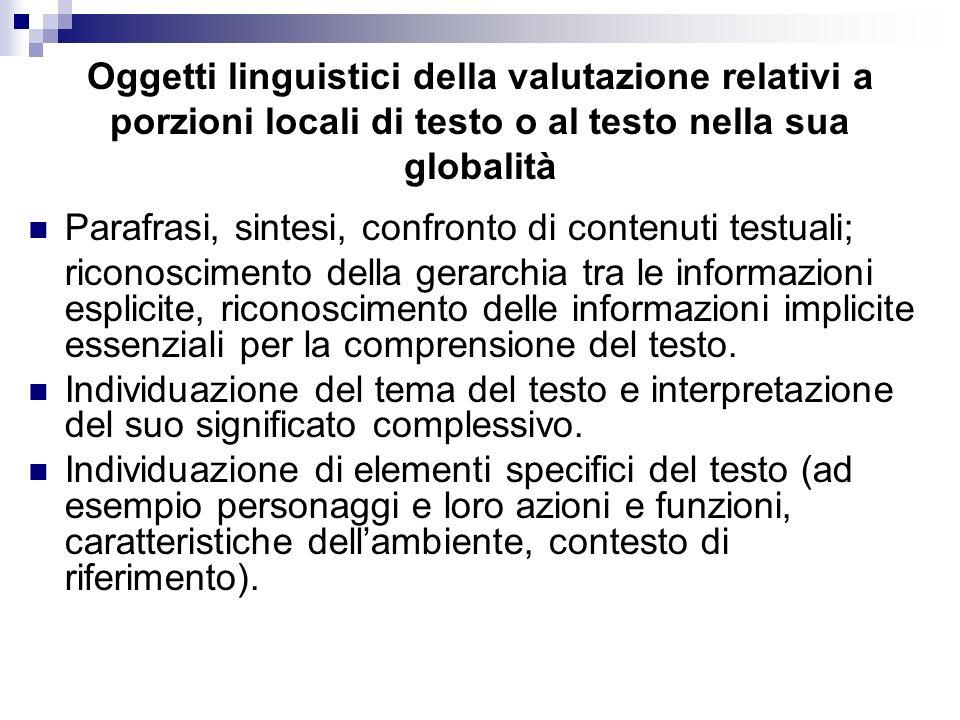 Oggetti linguistici della valutazione relativi a porzioni locali di testo o al testo nella sua globalità Parafrasi, sintesi, confronto di contenuti te