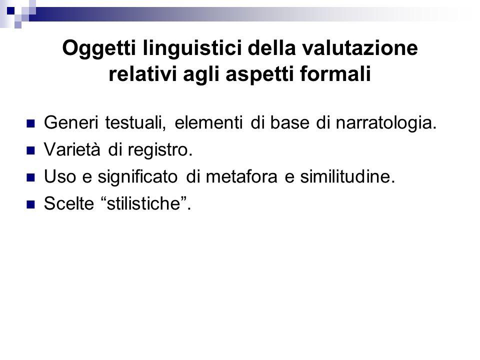Oggetti linguistici della valutazione relativi agli aspetti formali Generi testuali, elementi di base di narratologia. Varietà di registro. Uso e sign