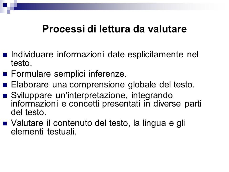 Processi di lettura da valutare Individuare informazioni date esplicitamente nel testo. Formulare semplici inferenze. Elaborare una comprensione globa