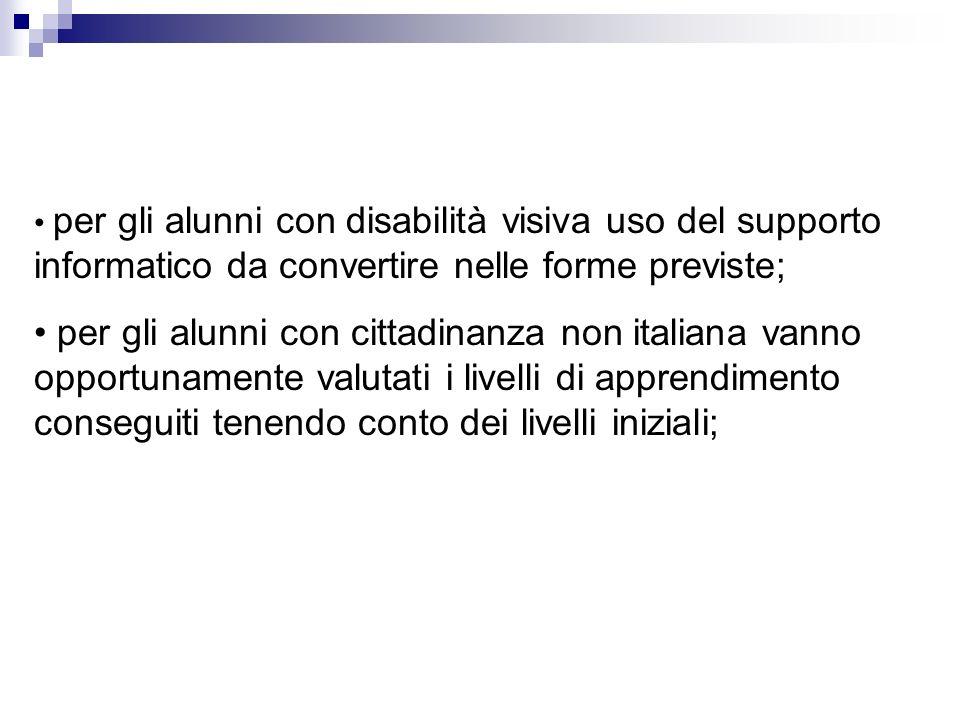 per gli alunni con disabilità visiva uso del supporto informatico da convertire nelle forme previste; per gli alunni con cittadinanza non italiana van