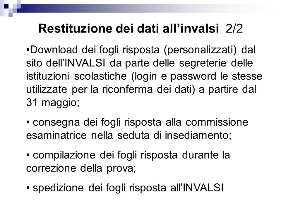 Restituzione dei dati allinvalsi 2/2 Download dei fogli risposta (personalizzati) dal sito dellINVALSI da parte delle segreterie delle istituzioni sco