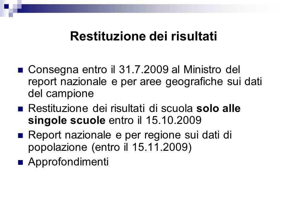 Restituzione dei risultati Consegna entro il 31.7.2009 al Ministro del report nazionale e per aree geografiche sui dati del campione Restituzione dei