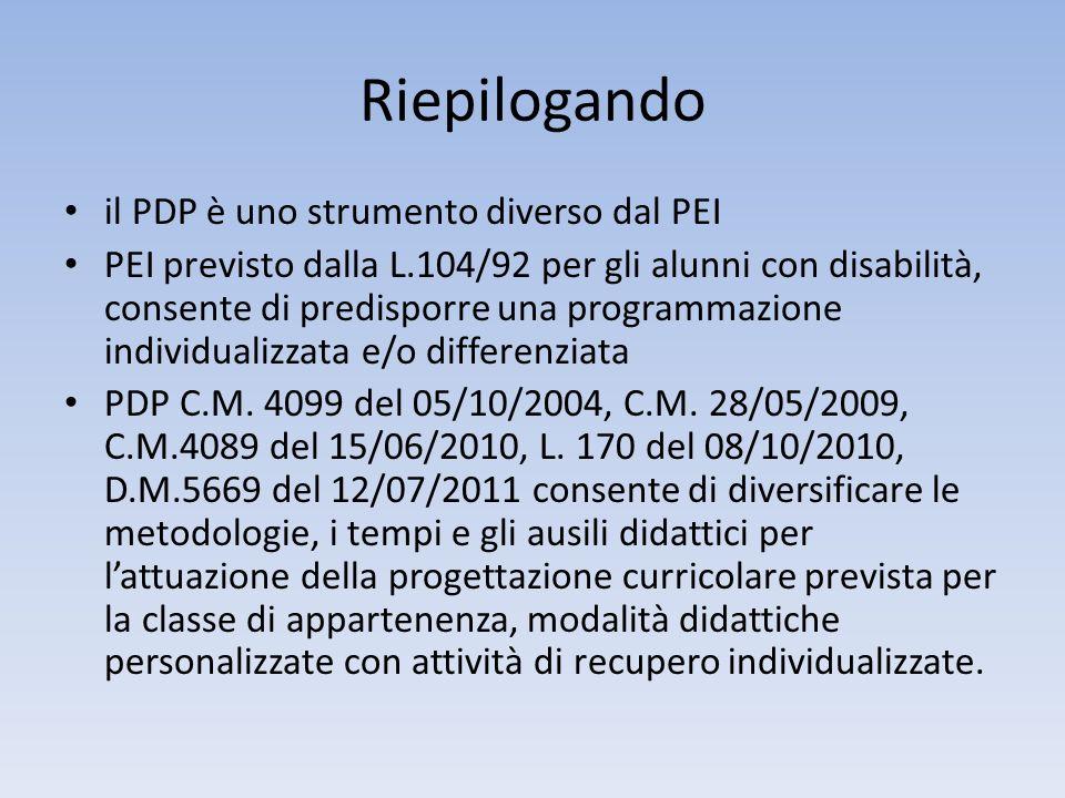 Riepilogando il PDP è uno strumento diverso dal PEI PEI previsto dalla L.104/92 per gli alunni con disabilità, consente di predisporre una programmazi