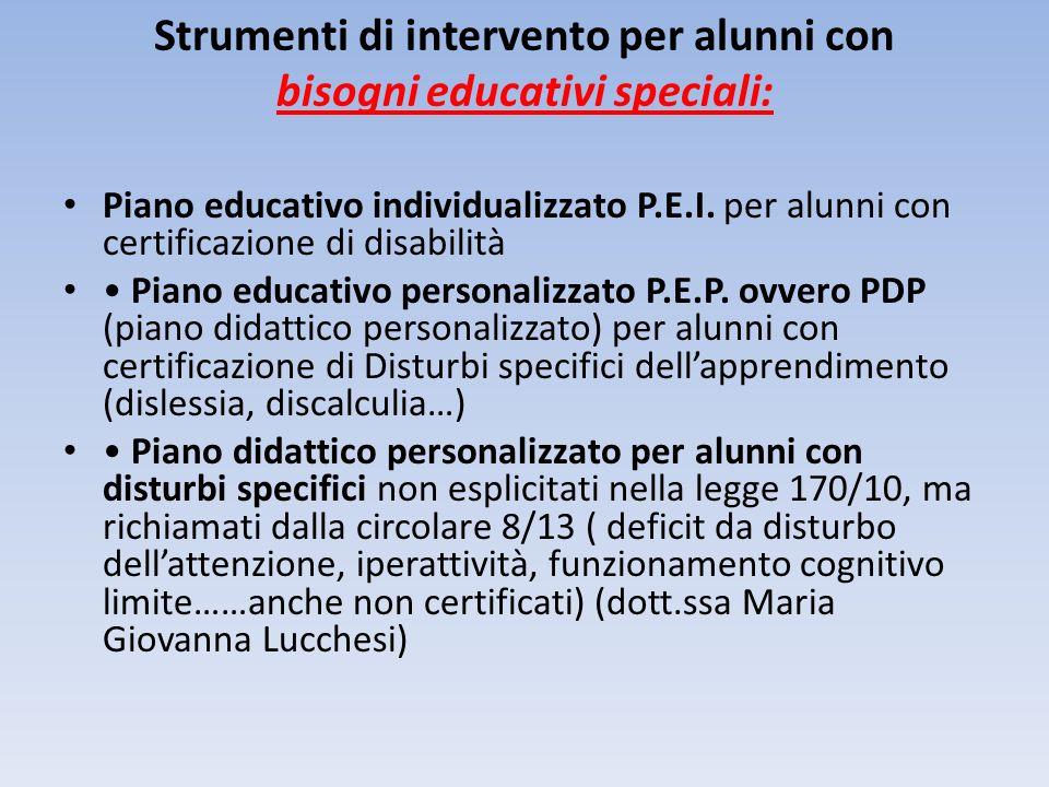 Strumenti di intervento per alunni con bisogni educativi speciali: Piano educativo individualizzato P.E.I. per alunni con certificazione di disabilità