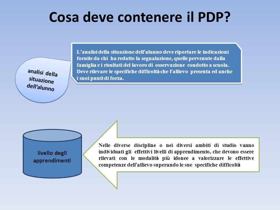Cosa deve contenere il PDP? analisi della situazione dellalunno L analisi della situazione dell alunno deve riportare le indicazioni fornite da chi ha