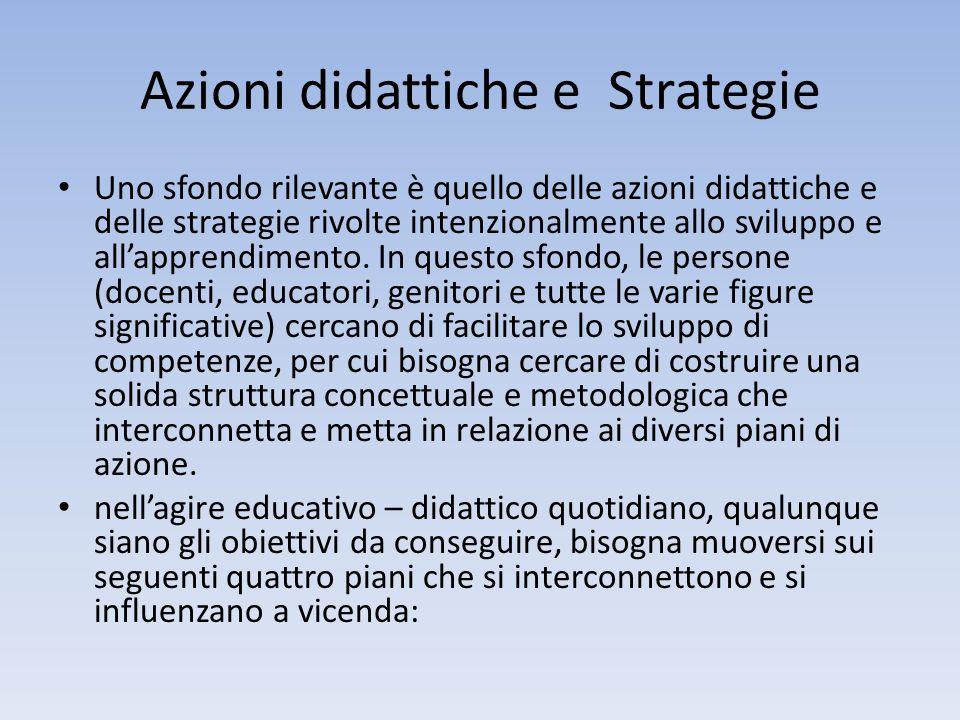 Azioni didattiche e Strategie Uno sfondo rilevante è quello delle azioni didattiche e delle strategie rivolte intenzionalmente allo sviluppo e allappr