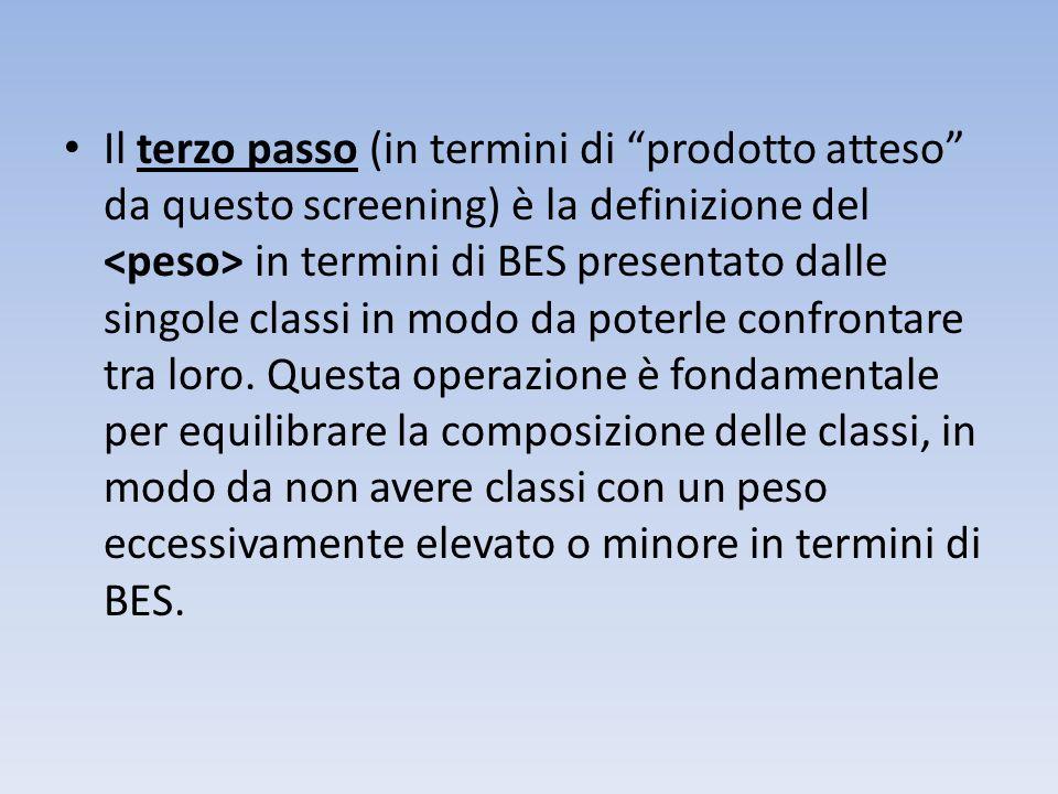 Il terzo passo (in termini di prodotto atteso da questo screening) è la definizione del in termini di BES presentato dalle singole classi in modo da p