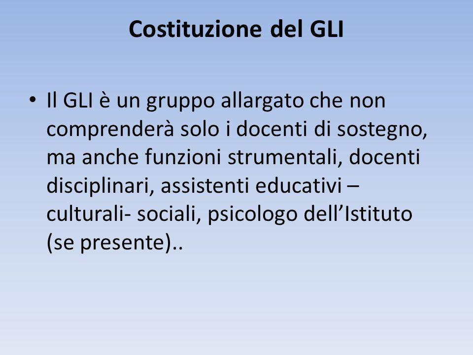 Costituzione del GLI Il GLI è un gruppo allargato che non comprenderà solo i docenti di sostegno, ma anche funzioni strumentali, docenti disciplinari,