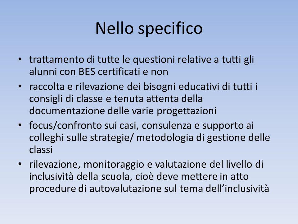 Nello specifico trattamento di tutte le questioni relative a tutti gli alunni con BES certificati e non raccolta e rilevazione dei bisogni educativi d