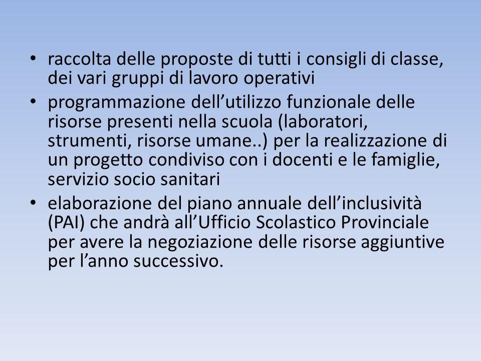 raccolta delle proposte di tutti i consigli di classe, dei vari gruppi di lavoro operativi programmazione dellutilizzo funzionale delle risorse presen