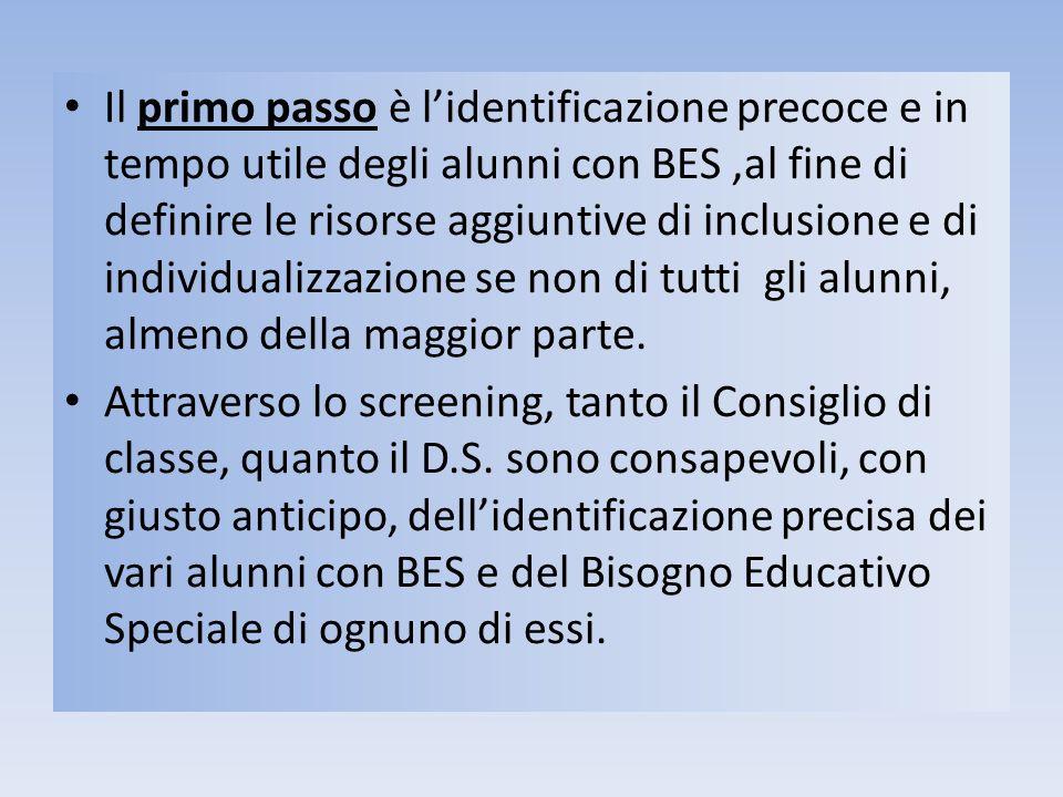 Il primo passo è lidentificazione precoce e in tempo utile degli alunni con BES,al fine di definire le risorse aggiuntive di inclusione e di individua