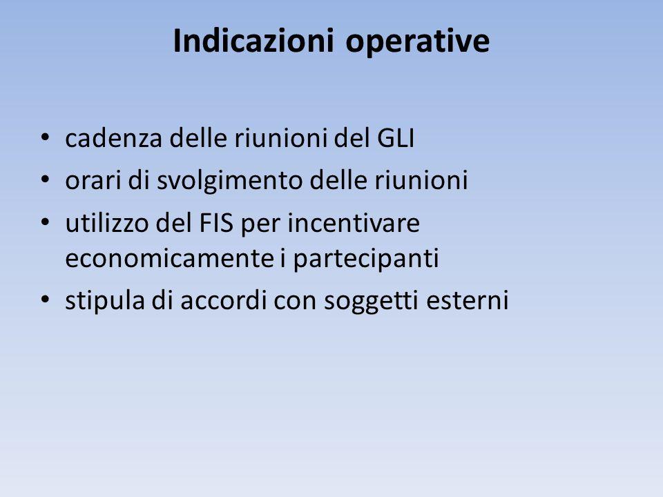 Indicazioni operative cadenza delle riunioni del GLI orari di svolgimento delle riunioni utilizzo del FIS per incentivare economicamente i partecipant