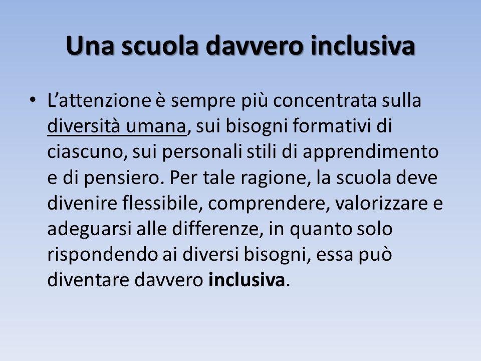 Una scuola davvero inclusiva Lattenzione è sempre più concentrata sulla diversità umana, sui bisogni formativi di ciascuno, sui personali stili di apprendimento e di pensiero.