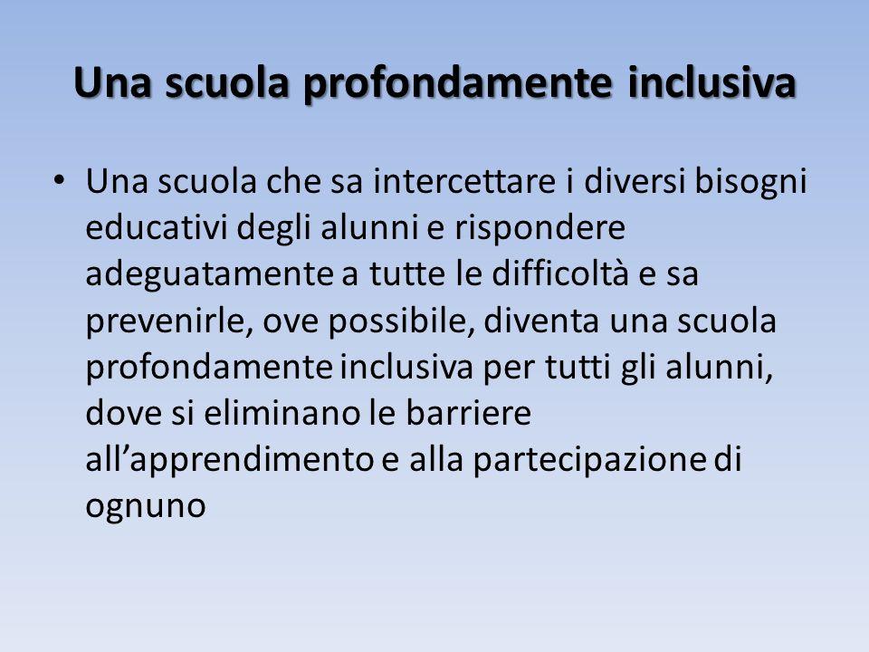Una scuola profondamente inclusiva Una scuola che sa intercettare i diversi bisogni educativi degli alunni e rispondere adeguatamente a tutte le difficoltà e sa prevenirle, ove possibile, diventa una scuola profondamente inclusiva per tutti gli alunni, dove si eliminano le barriere allapprendimento e alla partecipazione di ognuno