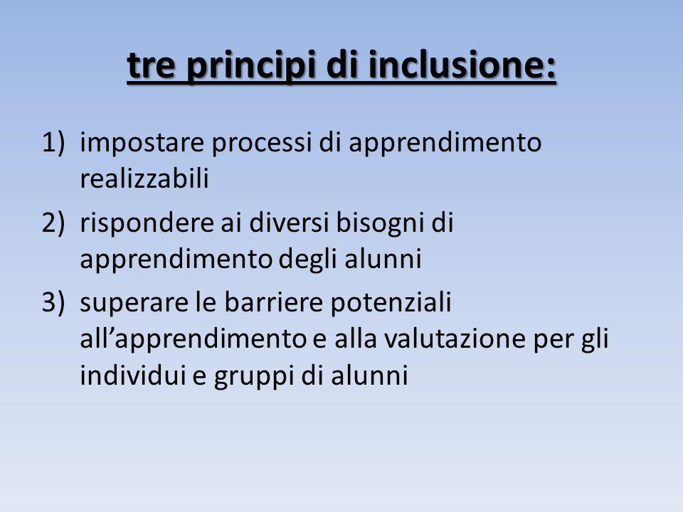 tre principi di inclusione: 1)impostare processi di apprendimento realizzabili 2)rispondere ai diversi bisogni di apprendimento degli alunni 3)superare le barriere potenziali allapprendimento e alla valutazione per gli individui e gruppi di alunni