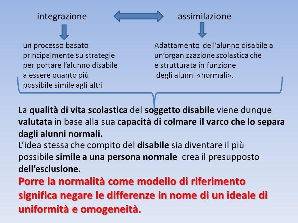 integrazioneassimilazione Adattamento dellalunno disabile a unorganizzazione scolastica che è strutturata in funzione degli alunni «normali».
