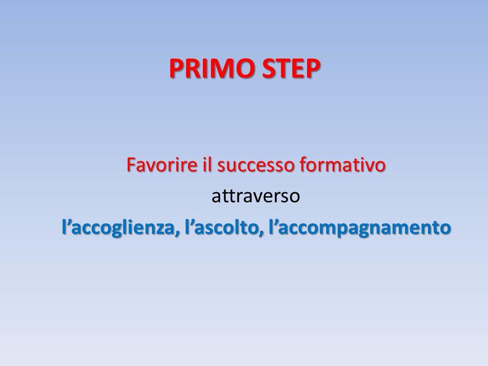 PRIMO STEP Favorire il successo formativo attraverso laccoglienza, lascolto, laccompagnamento