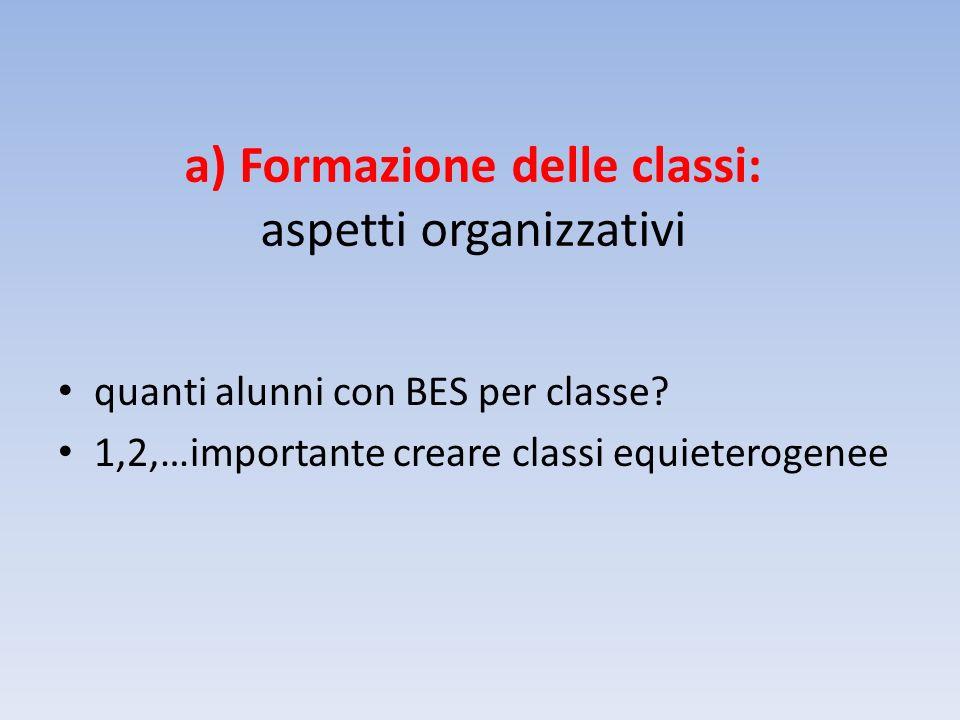 a) Formazione delle classi: aspetti organizzativi quanti alunni con BES per classe.