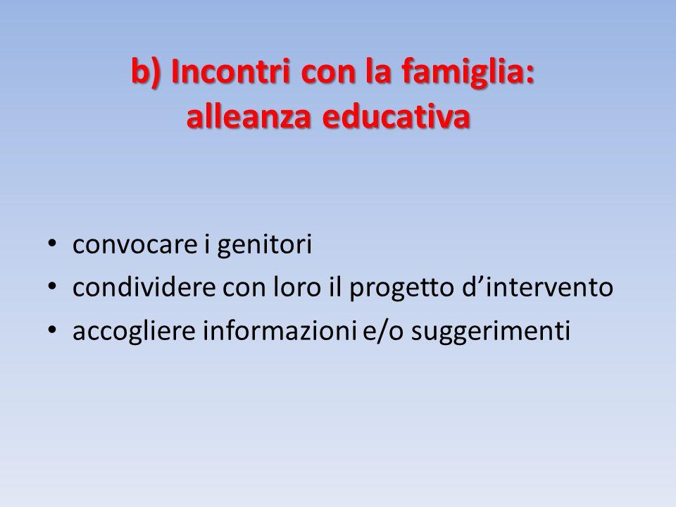 b) Incontri con la famiglia: alleanza educativa convocare i genitori condividere con loro il progetto dintervento accogliere informazioni e/o suggerimenti