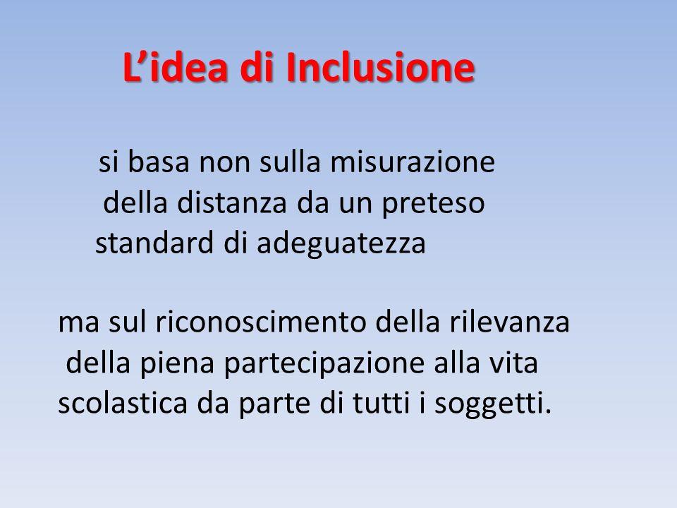 Lidea di Inclusione si basa non sulla misurazione della distanza da un preteso standard di adeguatezza ma sul riconoscimento della rilevanza della piena partecipazione alla vita scolastica da parte di tutti i soggetti.
