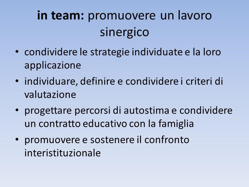 in team: promuovere un lavoro sinergico condividere le strategie individuate e la loro applicazione individuare, definire e condividere i criteri di valutazione progettare percorsi di autostima e condividere un contratto educativo con la famiglia promuovere e sostenere il confronto interistituzionale