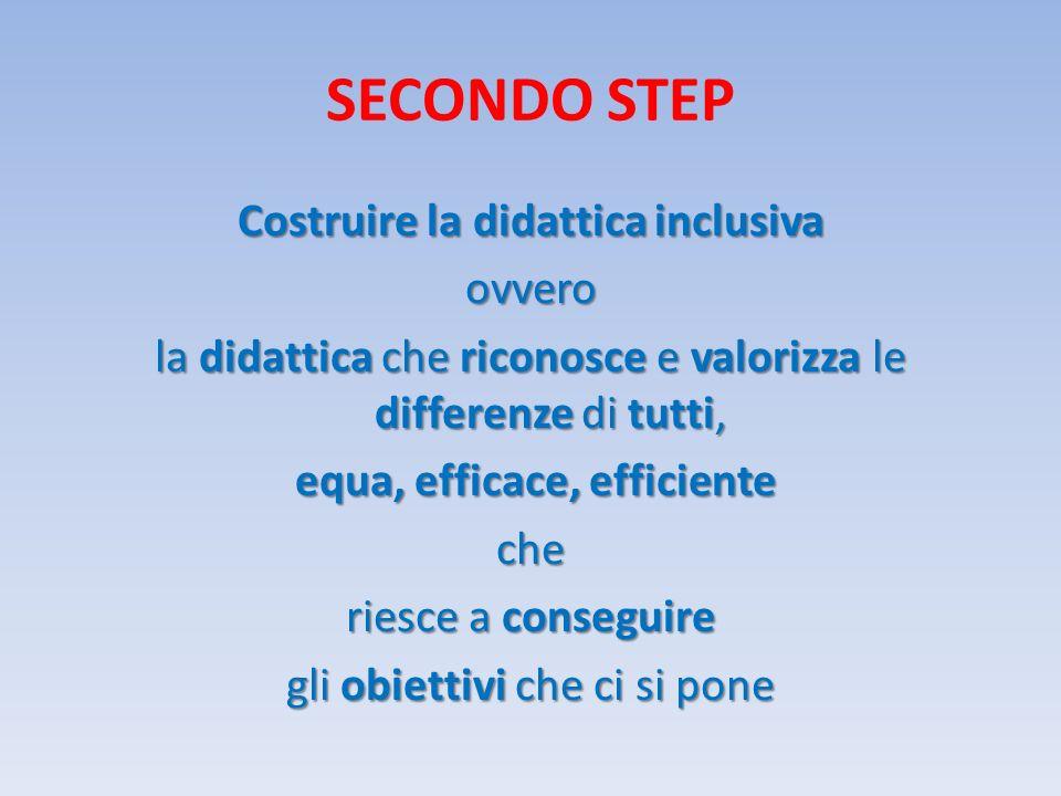 SECONDO STEP Costruire la didattica inclusiva ovvero la didattica che riconosce e valorizza le differenze di tutti, equa, efficace, efficiente equa, efficace, efficienteche riesce a conseguire gli obiettivi che ci si pone