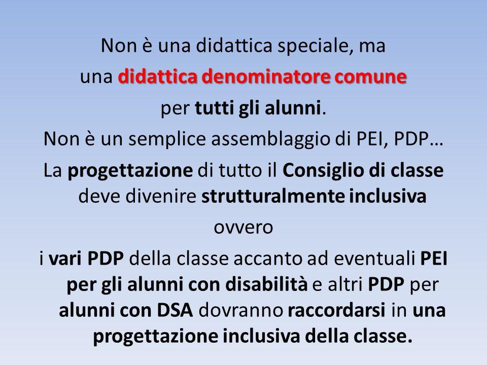 Non è una didattica speciale, ma didattica denominatore comune una didattica denominatore comune per tutti gli alunni.