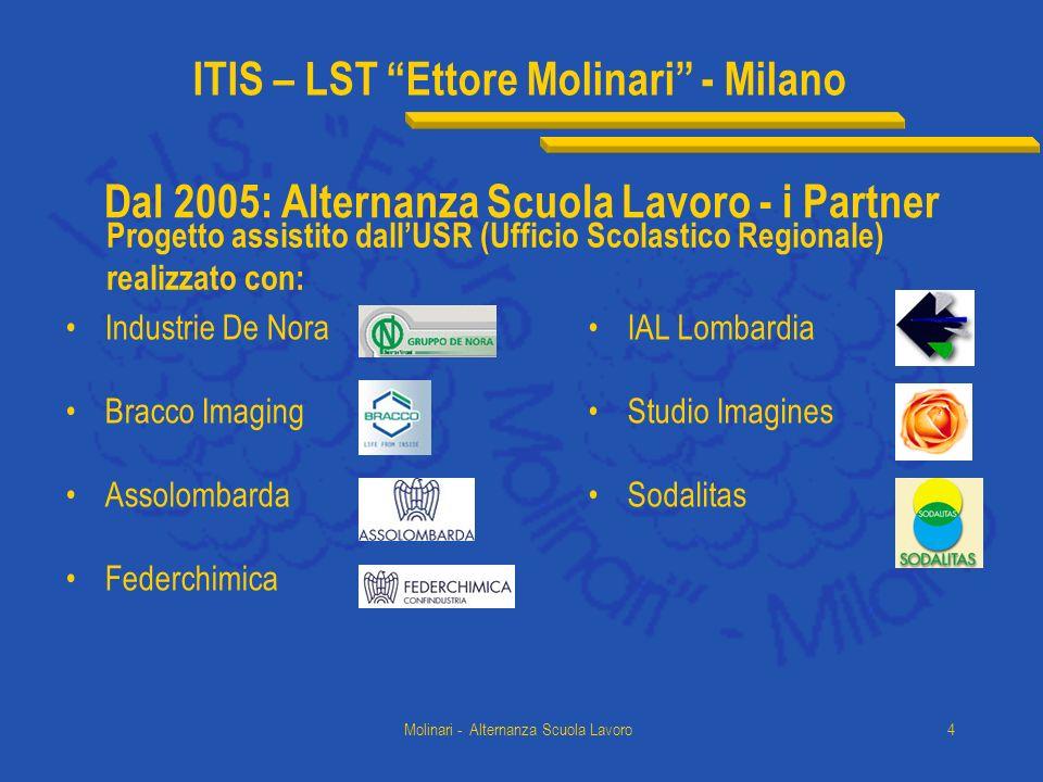 ITIS – LST Ettore Molinari - Milano Molinari - Alternanza Scuola Lavoro4 Dal 2005: Alternanza Scuola Lavoro - i Partner Industrie De Nora Bracco Imagi