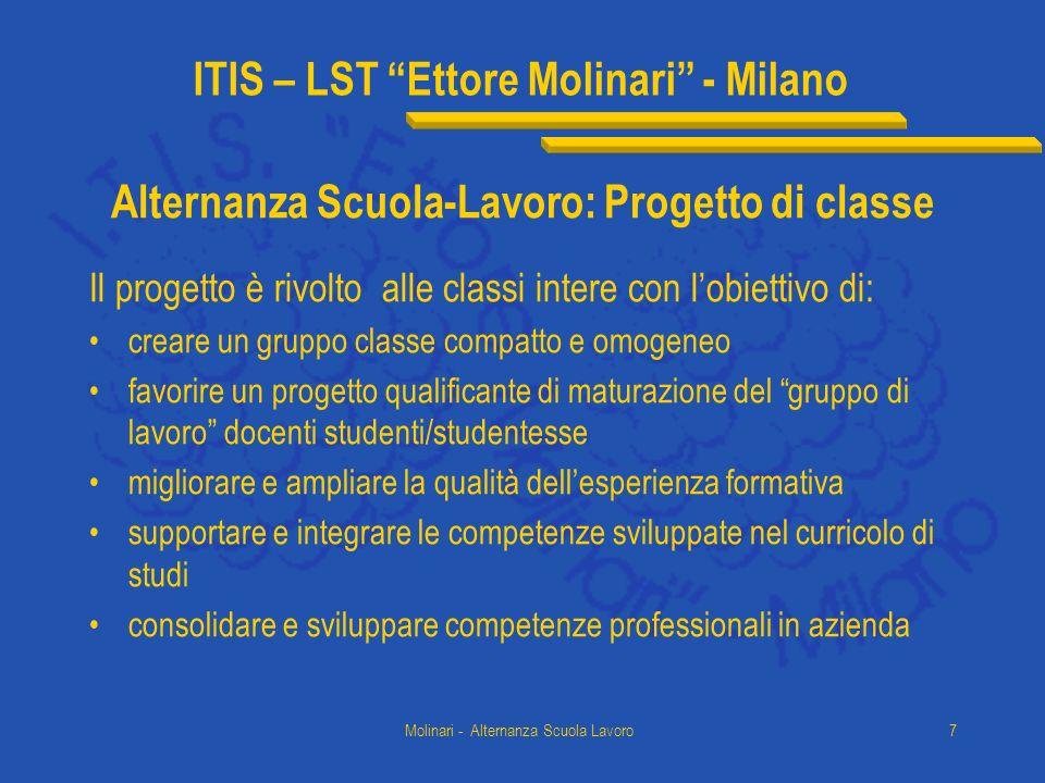 ITIS – LST Ettore Molinari - Milano Molinari - Alternanza Scuola Lavoro7 Alternanza Scuola-Lavoro: Progetto di classe Il progetto è rivolto alle class