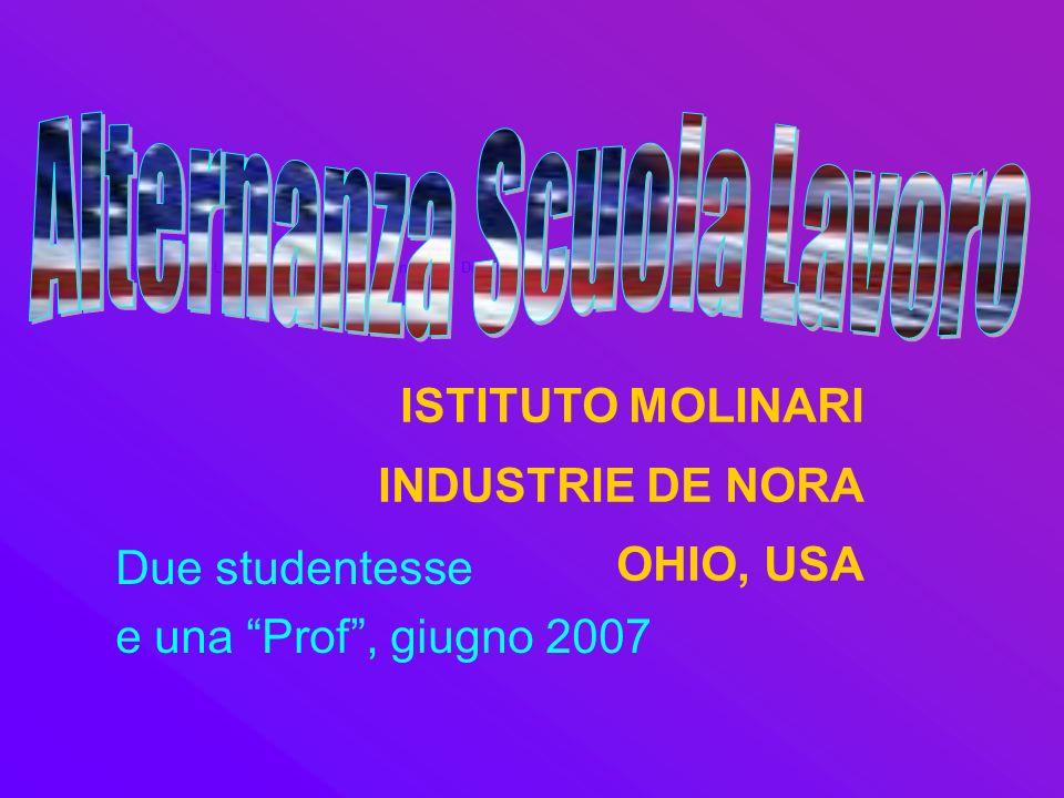 Alternanza Scuola Lavoro - Istituto Molinari - Industrie De Nora, Ohio, Usa ISTITUTO MOLINARI INDUSTRIE DE NORA OHIO, USA Due studentesse e una Prof, giugno 2007