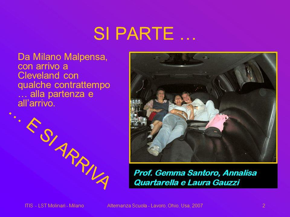 ITIS - LST Molinari - MilanoAlternanza Scuola - Lavoro, Ohio, Usa, 20072 SI PARTE … Da Milano Malpensa, con arrivo a Cleveland con qualche contrattempo … alla partenza e allarrivo.
