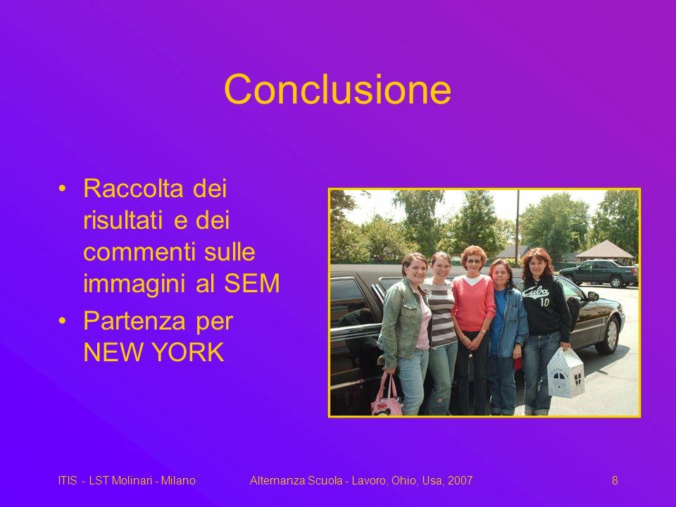 ITIS - LST Molinari - MilanoAlternanza Scuola - Lavoro, Ohio, Usa, 20078 Conclusione Raccolta dei risultati e dei commenti sulle immagini al SEM Partenza per NEW YORK