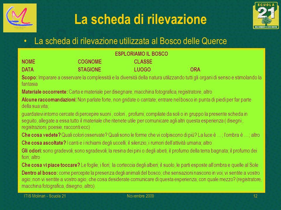ITIS Molinari - Scuola 21Novembre 200912 La scheda di rilevazione La scheda di rilevazione utilizzata al Bosco delle Querce ESPLORIAMO IL BOSCO NOMECO