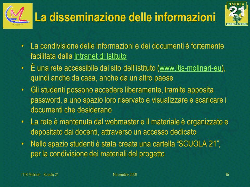 ITIS Molinari - Scuola 21Novembre 200915 La disseminazione delle informazioni La condivisione delle informazioni e dei documenti è fortemente facilita